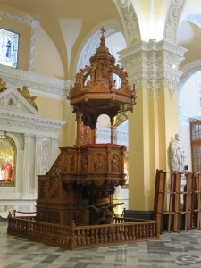Historic pulpit in Arequipa's main cathedral